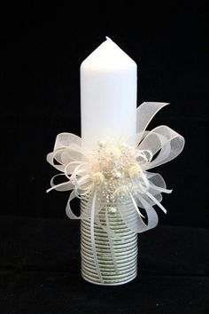 Christening Candle Ceremony Candle First Holy by CeremonyDeluxe, Candle Art, Unity Candle, Candle Lanterns, Baptism Candle, Baptism Party, Homemade Candles, Baby Christening, First Holy Communion, Party Centerpieces