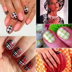 Picnic ready DIY Gingham Nails!  Achieve this fresh, summer-chic look by following these steps: Step 1. Hydrate with cuticle oil. Step 2. Clean + prep nails with a base coat or treatment. Step 3. Apply 2 coats of the polish of your choice to all nails and let dry. Step 4. Using a striping brush, paint two straight lines vertically and horizontally in another color of your choice. Step 5. For extra pizzazz- add a colorful tip with a striping brush! Step 6. Shine + Seal with a top coat, and…
