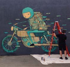Kyle Hughes-Odgers at work - San Fernando road, NE Los Angeles, CA, USA - 10/14/14 (LP)