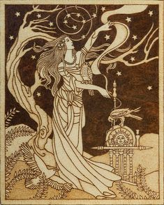 """""""Beautiful pyrography artwork depicting Frigg, Norse goddess of wisdom and foreknowledge, wife of Odin and mother of Baldr with three sacred birds (hawk, falcon and raven), standing tall and proud against the star-filled sky. """" YANKAcreations on..."""