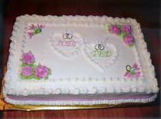 Hearts and Roses Bridal Shower Cake