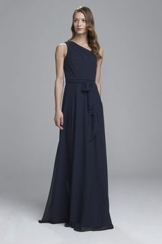 """""""Laurie"""" - One shoulder Grecian bridesmaids dress shown in Navy"""