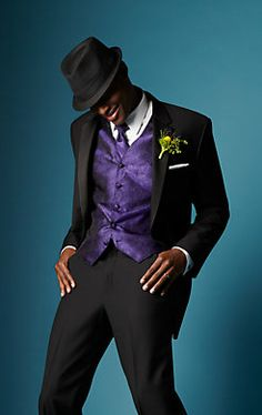 Dance the night away in a suave Calvin Klein Two-Button Super 100s Notch Lapel #tuxedo. #wedding