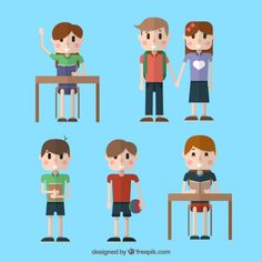 Flat Student Characters Collection Free Vector