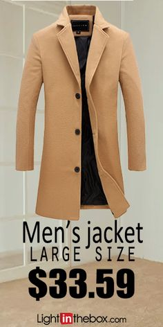 Men's Vintage / Basic Long Cotton Jacket - Solid Colored / Long Sleeve / Plus Size Mens Attire, Mens Suits, Mode Masculine, Mode Hipster, Herren Winter, Mens Winter, Winter Wear, Moda Blog, Mens Fashion