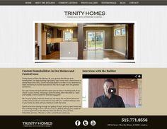 Trinity Homes of Iowa, modern website design, website slideshow, minimalist website design, tans, browns, greys, simple website design
