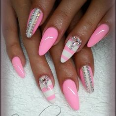 66 Pretty Pink Nail Art Ideas For summer 2016 - Styles latest ~i like the light pink color and the white stripes, not liking the jewels though. Sexy Nails, Dope Nails, Bling Nails, Fun Nails, Stiletto Nails, Fabulous Nails, Gorgeous Nails, Pretty Nails, Pink Nail Art
