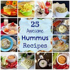 25 Awesome Hummus Recipes- vegan, gluten free, dairy free, tastes amazing!!