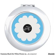 Feminine Black Dot White Flower on Blue Monogram Compact Mirrors