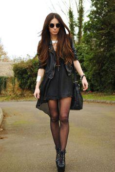 Leather jacket with flowy dress <3