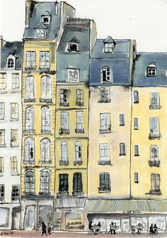 This looks just like the block where I lived in teh 18th Paris -- Illustration