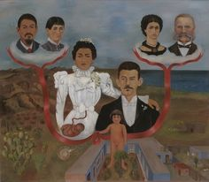 "Frida Kahlo (Mexican, 1907–1954)  My Grandparents, My Parents, and I (Family Tree)  Date:1936Medium:Oil and tempera on zincDimensions:12 1/8 x 13 5/8"" (30.7 x 34.5 cm)"