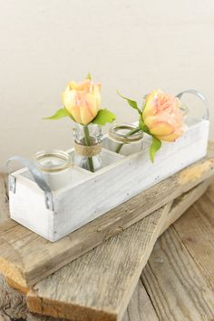 .would look good on long bridal party table..would use wood not white box w/ ball jars inside