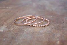 Rose Gold Filled Ring Set Set Of 3 Rings Hammered Ring