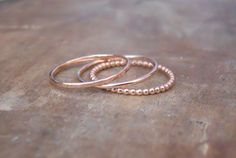 Rose Gold Filled Ring Set, Set Of 3 Rings, Hammered Ring, Round Ring, Beaded Ring, Rose gold Stacking Ring Set, Delicate Rose Gold  Rings
