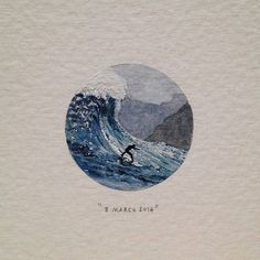 "Day 67 : ""Dungeons"" in Hout Bay is one of the sixteen recognised big wave spots around the globe. The annual Red Bull Big Wave Africa competition is held here. Swells of up to 47 feet m) have. Watercolor Quote, Watercolor Paintings, Watercolor Video, Watercolors, Mini Paintings, Detailed Paintings, South African Artists, Circle Art, Crayon Art"