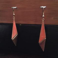 Geometric earrings Gold and Coral colored geometric earrings set Jewelry Earrings