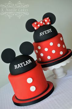 Mickey & Minnie Mouse theme cake by K Noelle Cakes