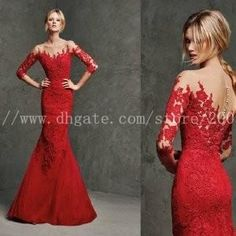Engagement Evening Dresses Vestido Longo Vermelho Sexy Red Mermaid Lace Uzun Abiye Elbise Long Prom Gowns Appliques 2015 Cream Evening Dress Evening Dress Cheap From Imonolisa, $116.99| Dhgate.Com