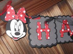 Minnie Mouse Birthday Banner in Red & White by LittleBirdPaperShop, $28.00