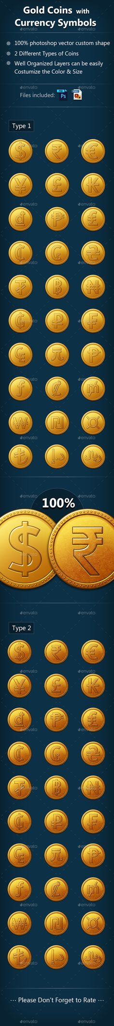 Gold Coin with Currency Symbols - #Icons Download here: https://graphicriver.net/item/gold-coin-with-currency-symbols/20063076?ref=alena994