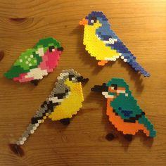 Birds hama perler beads by ollieboioz Perler Bead Templates, Diy Perler Beads, Pearler Bead Patterns, Perler Bead Art, Perler Patterns, 8bit Art, Hama Beads Design, Peler Beads, Iron Beads