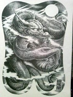 满背纹身手稿欣赏 Full Back Tattoos, Full Body Tattoo, Body Art Tattoos, Sleeve Tattoos, Japanese Snake Tattoo, Japanese Dragon Tattoos, Japan Tattoo, Dragons, Dragon Illustration