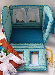 Домик - бирюзовый,домик,теремок,домик вязаный,домик для куклы,кукольный театр