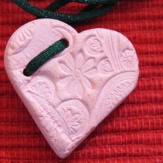 Pink Clay Heart Diffuser Necklace