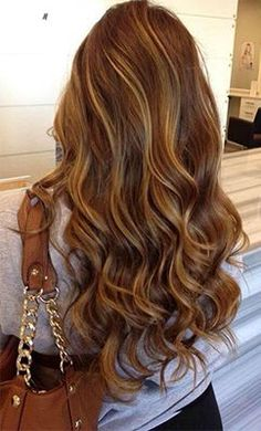 Rich chocolate brown hair color with caramel highlights