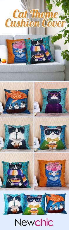 US5.13 - SOFO Cute Cartoon Cat Cushion Cover Dense Linen Square Throw Pillow Case Sofa Home Decor#newchic#homedecor#cat#pet