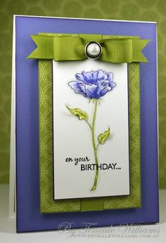 Beautiful b'day card. If you change your base colour DP, you can match your flower to it. This would also make a lovely get well or thank you card too.