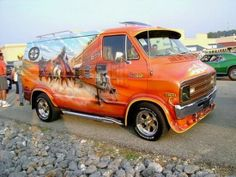 Very cool mural idea, the front of the van is part of a train