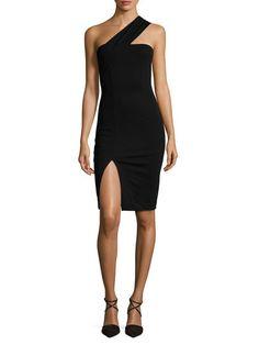 One Shoulder Front Split Sheath Dress by Renvy at Gilt