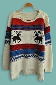 Beige Long Sleeve Elk Print Batwing Pullovers Sweater