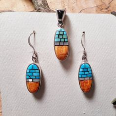 Southwest Turquoise Spiny Oyster Earrings and by LanciaArts