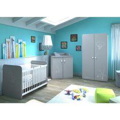 7db870f890469 PETITE SOURIS Chambre Bébé Complète 3 pièces   Lit 60x120 cm + Armoire +  Commode Table à Langer Gris