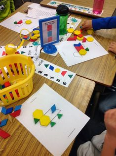 We're in the midst of geometry these days.  We just played a fun composing and decomposing game that I learned at a recent district math mee...