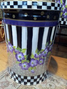 Mackenzie Childs Inspired - Hand Painted 20 Gallon Galvanized Metal Trash/Garbage/Storage Can - Courtly check and ceramic polka dots on lid by krystasinthepointe on Etsy Painted Trash Cans, Painted Pots, Paint Cans, Painted Metal, Hand Painted, Outdoor Trash Cans, Garbage Storage, Painted Mailboxes, Mackenzie Childs Inspired
