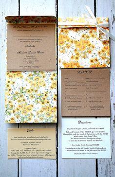 Handmade PocketFold Wedding Invitation - Vintage Sunflower