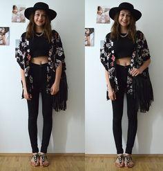 Mademoiselle C. - Flower Kimono and Crop Top