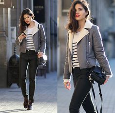 Glamorous Shearling Grey Jacket, Choies Striped Knit, Proenza Schouler Ps11 Classic