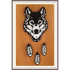 Wolf dreamcatcher hama beads by gittejulie                              …