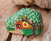 Tiny Colorful Fairy House - Hand Painted on Beach Stone. $14.00, via Etsy.