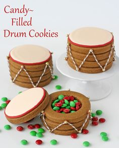 Candy Filled Drum Cookies - by Glorious Treats  Would be such a cute gift, and you could eat all the insides when you cut out those holes. :)