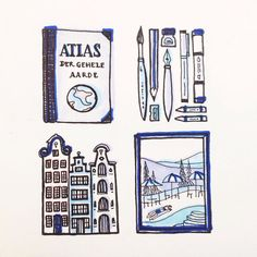 My next drawing for the #4thingsilove challenge - clockwise: atlasses art supplies Slim Aarons's photo's and Amsterdam #illustration #ink #marker #blue #illustratorlife #illustagram #instadraw #instaart #jaqstorm by jaqstorm