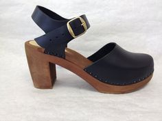 Black oiled Dalanna on a brown super high heel by ChameleonClogs, $139.00