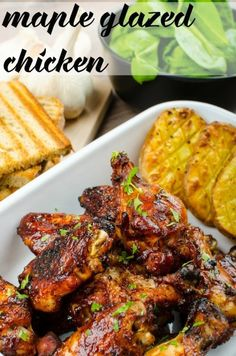 Let me say that again, Maple Glazed Chicken! Just writing that makes me hungry because it's just so very good. Spicy Fried Chicken, Baked Chicken, Tandoori Chicken, Turkey Recipes, Chicken Recipes, Fall Recipes, Dinner Recipes, Maple Glazed Chicken, Maple Glaze Recipe For Chicken