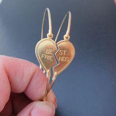 Half Heart Friendship Bracelet Set, 2 Best Friend Bracelets, Bangles, Broken Heart Jewelry, Gold Friendship Jewelry, Best Friends Jewelry. $32.00, via Etsy.