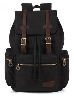 Aidonger Damen und Herren Vintage Stabiles Canvas und Leder Rucksack Retro Schulrucksack Backpack für Outdoor Sports Uni Reise (Armee Grün): Amazon.de: Bekleidung